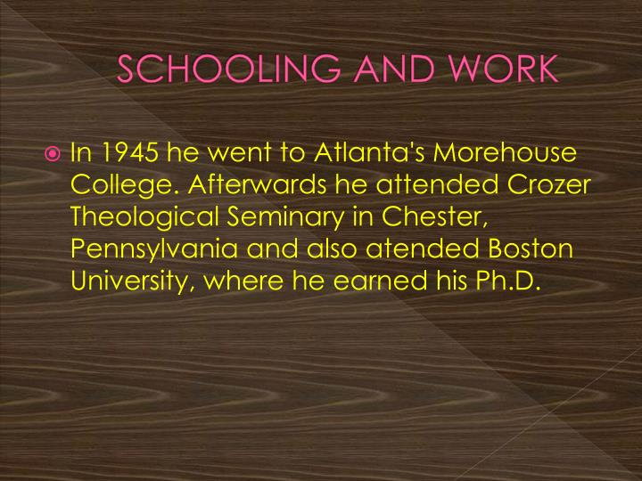 SCHOOLING AND WORK