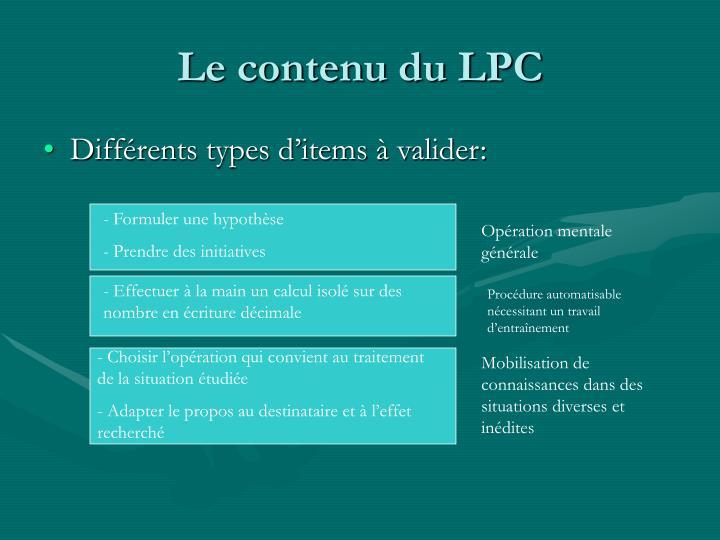 Le contenu du LPC