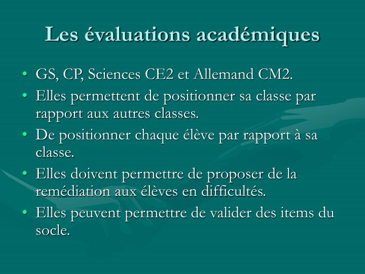 Les évaluations académiques