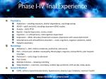 phase i iv trial experience