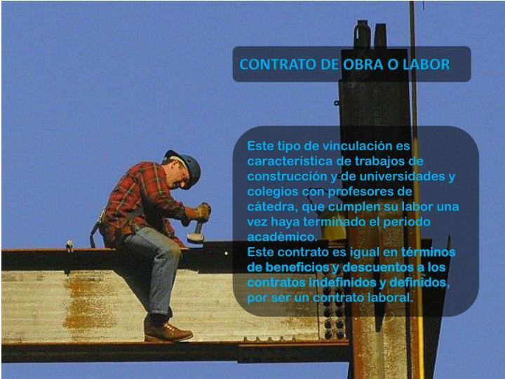 CONTRATO DE OBRA O LABOR
