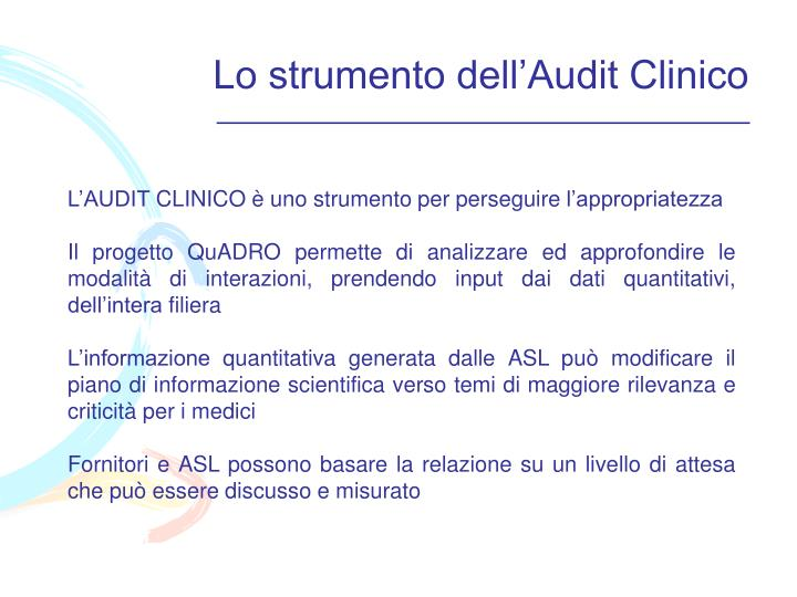 Lo strumento dell'Audit Clinico