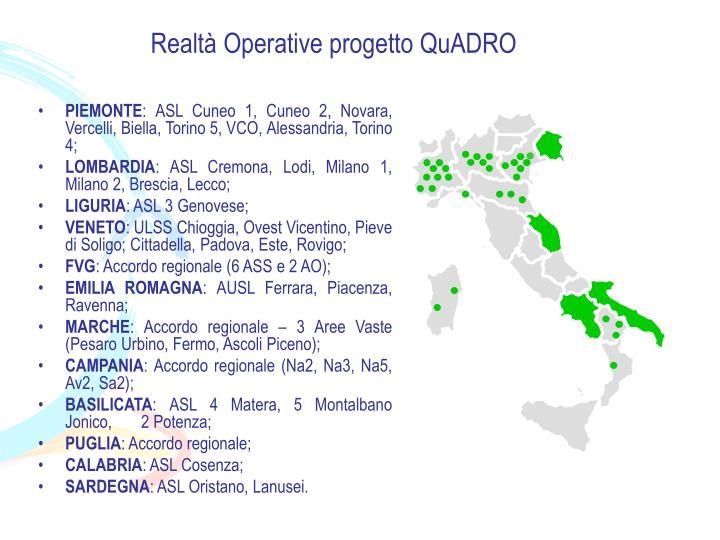 Realtà Operative progetto QuADRO