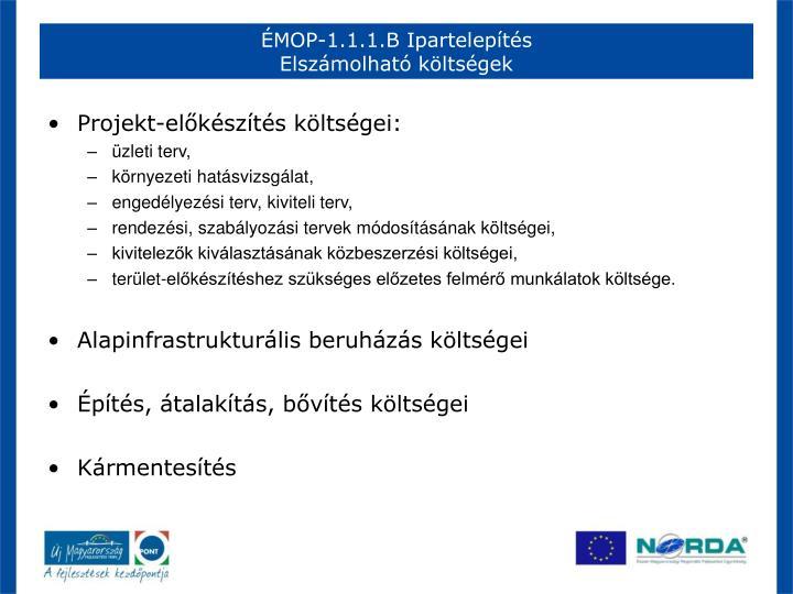 ÉMOP-1.1.1.B Ipartelepítés