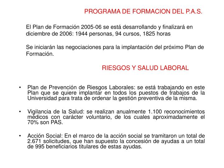 PROGRAMA DE FORMACION DEL P.A.S.