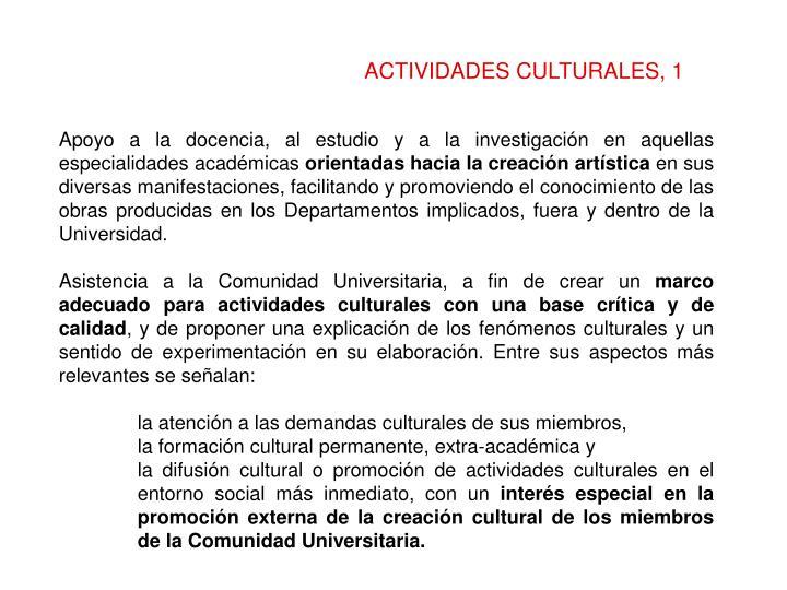 ACTIVIDADES CULTURALES, 1