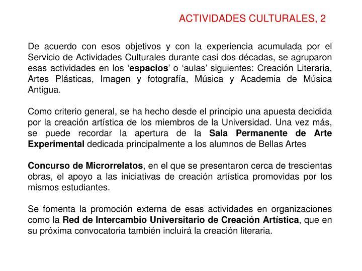 ACTIVIDADES CULTURALES, 2