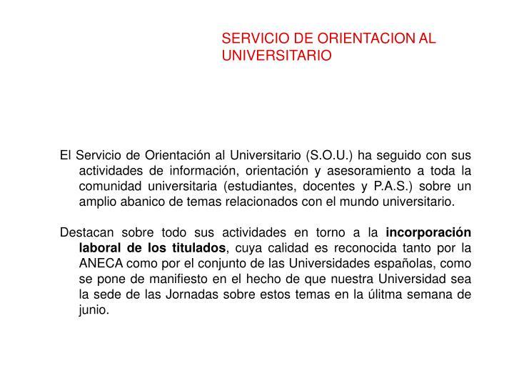 SERVICIO DE ORIENTACION AL UNIVERSITARIO