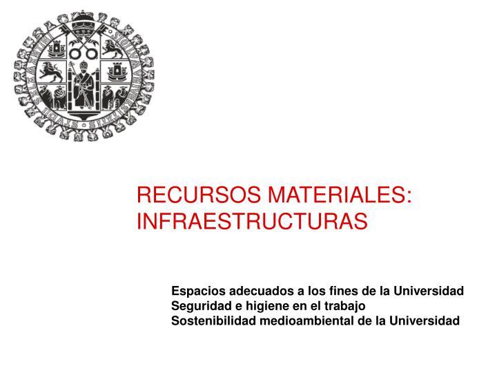 RECURSOS MATERIALES: INFRAESTRUCTURAS