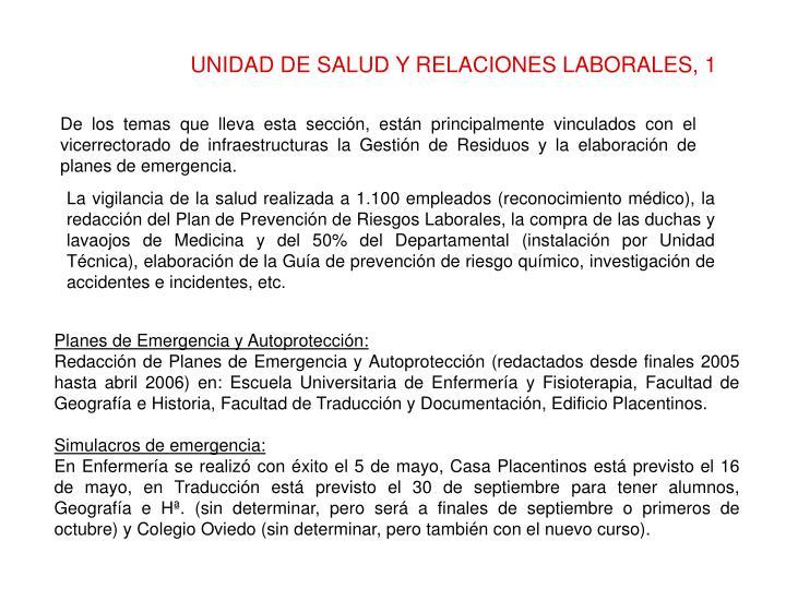 UNIDAD DE SALUD Y RELACIONES LABORALES, 1