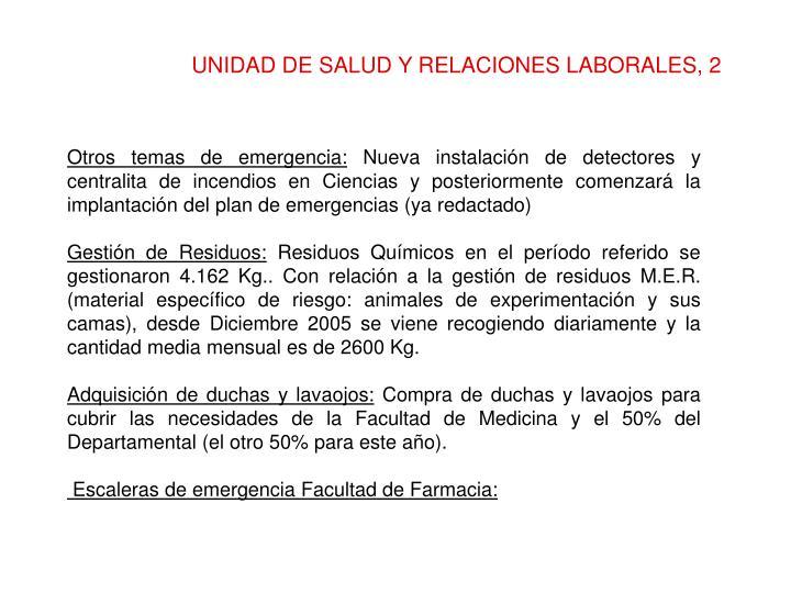 UNIDAD DE SALUD Y RELACIONES LABORALES, 2