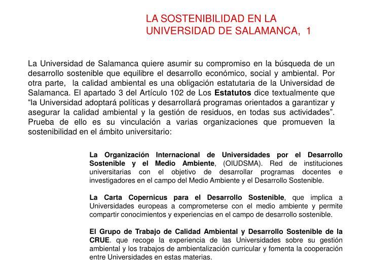 LA SOSTENIBILIDAD EN LA UNIVERSIDAD DE SALAMANCA,  1
