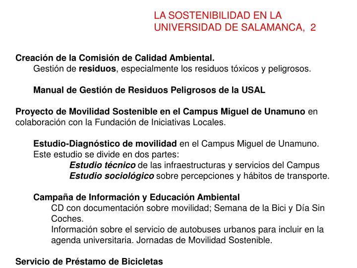 LA SOSTENIBILIDAD EN LA UNIVERSIDAD DE SALAMANCA,  2