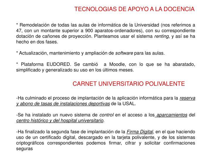 TECNOLOGIAS DE APOYO A LA DOCENCIA