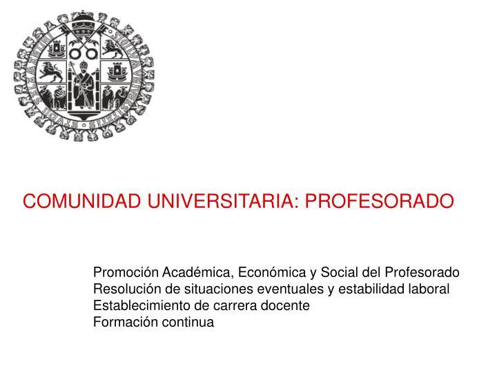 COMUNIDAD UNIVERSITARIA: PROFESORADO