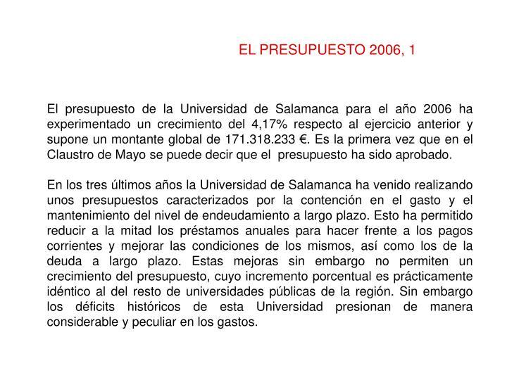 EL PRESUPUESTO 2006, 1