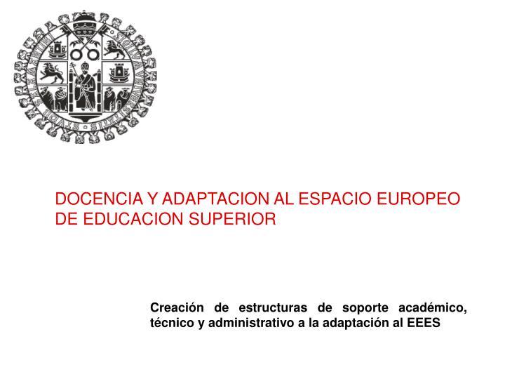 DOCENCIA Y ADAPTACION AL ESPACIO EUROPEO DE EDUCACION SUPERIOR
