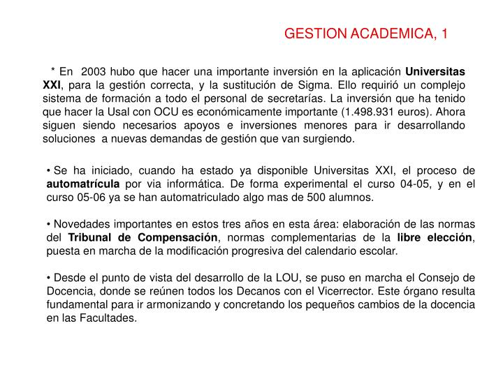 GESTION ACADEMICA, 1