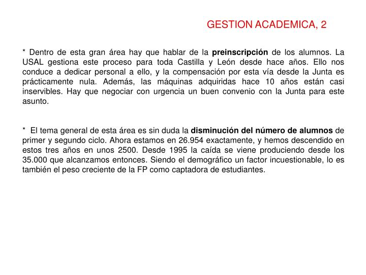 GESTION ACADEMICA, 2