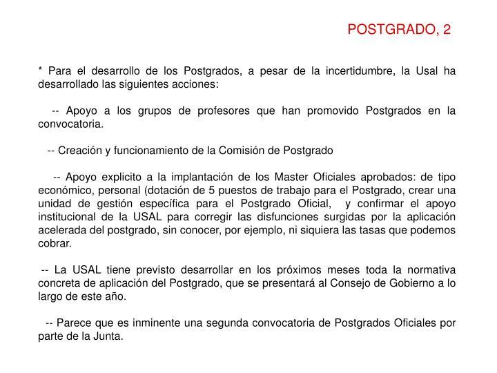 POSTGRADO, 2