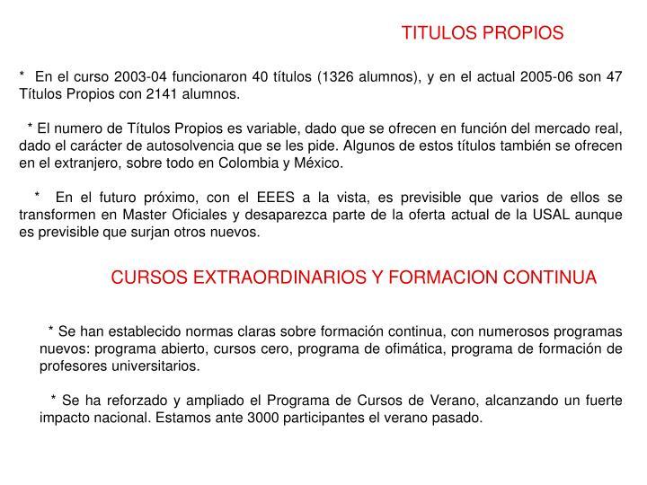 TITULOS PROPIOS