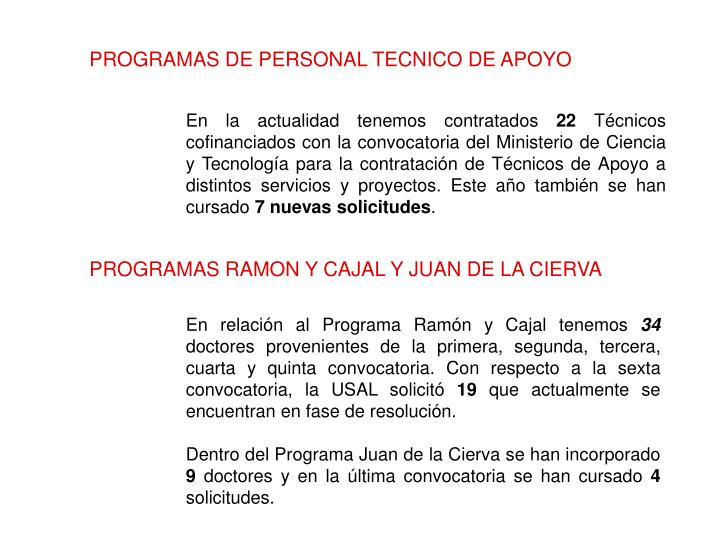 PROGRAMAS DE PERSONAL TECNICO DE APOYO