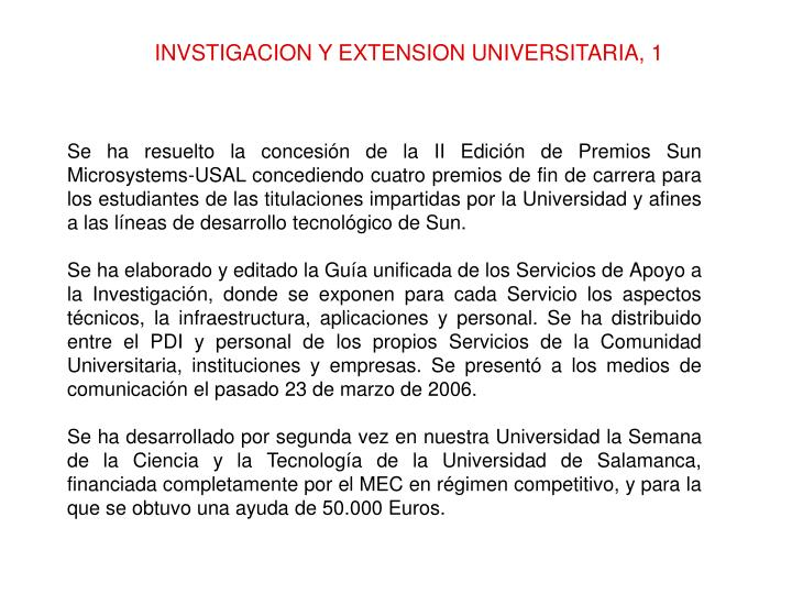 INVSTIGACION Y EXTENSION UNIVERSITARIA, 1