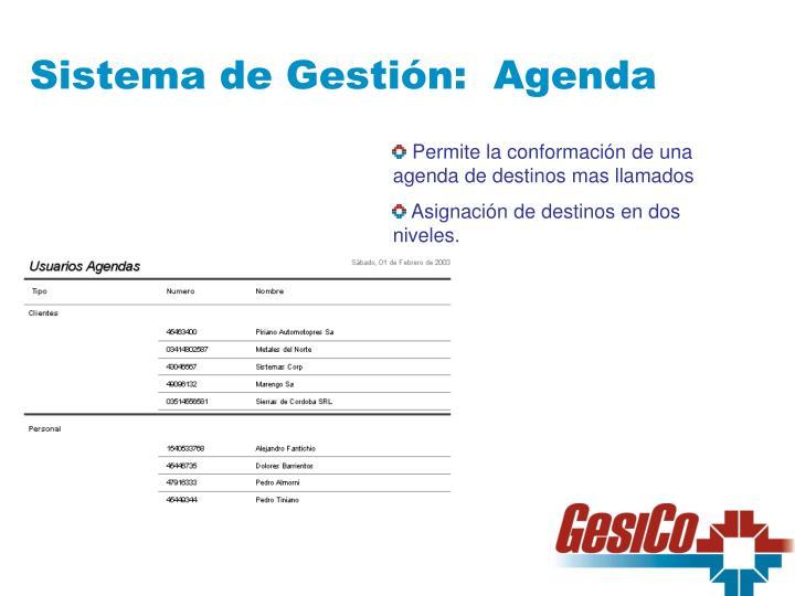 Sistema de Gestión:  Agenda