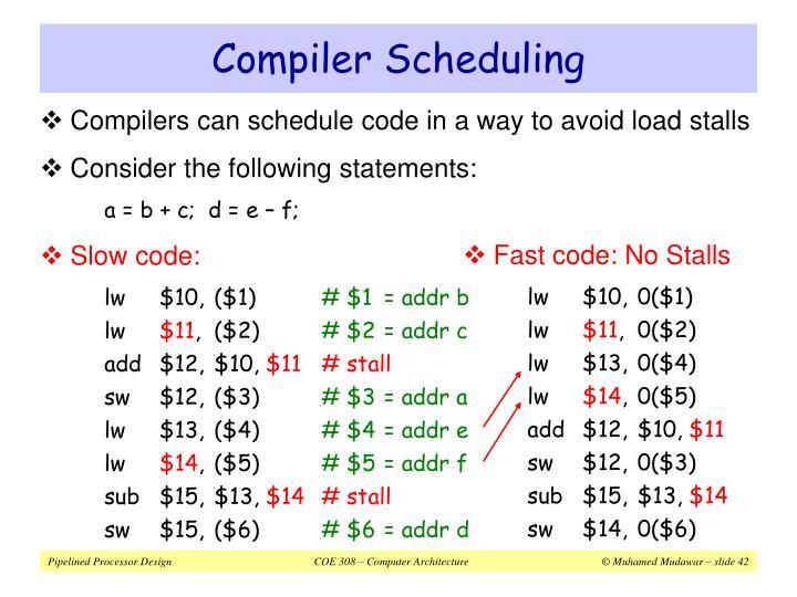 Compiler Scheduling