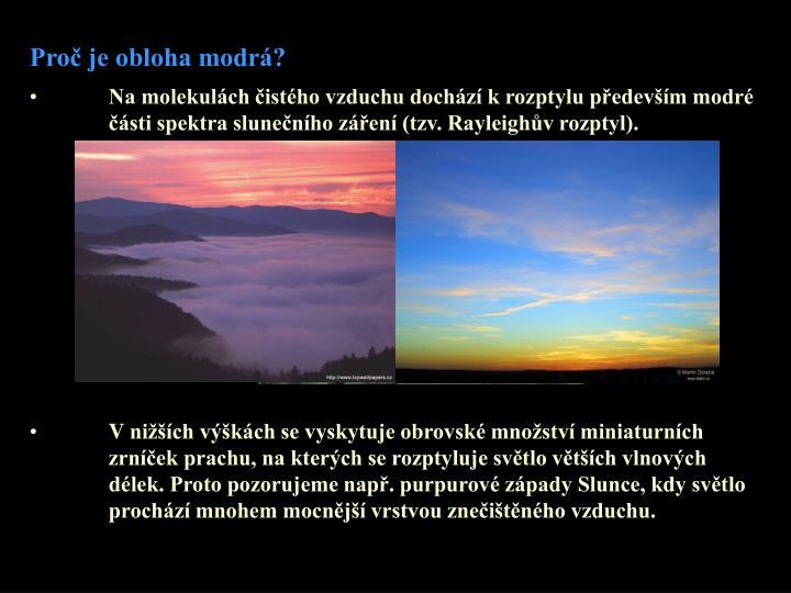 Proč je obloha modrá?