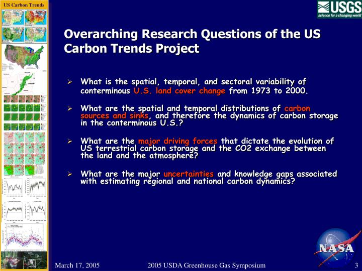 Overarching Research Questions of the US Carbon Trends Project