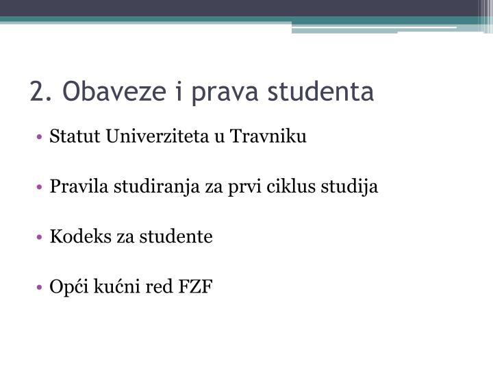 2. Obaveze i prava studenta