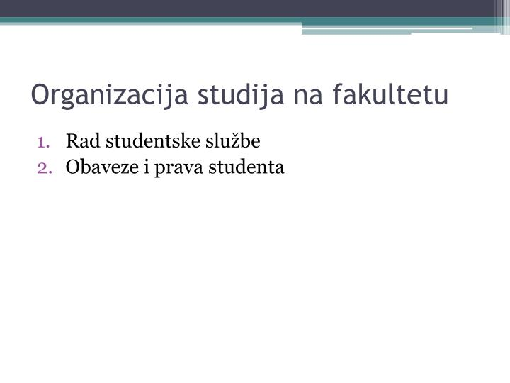Organizacija studija na fakultetu