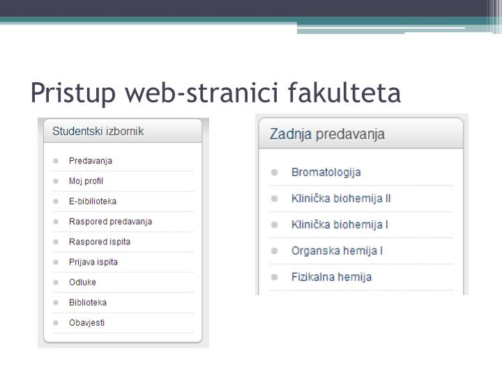 Pristup web-stranici fakulteta