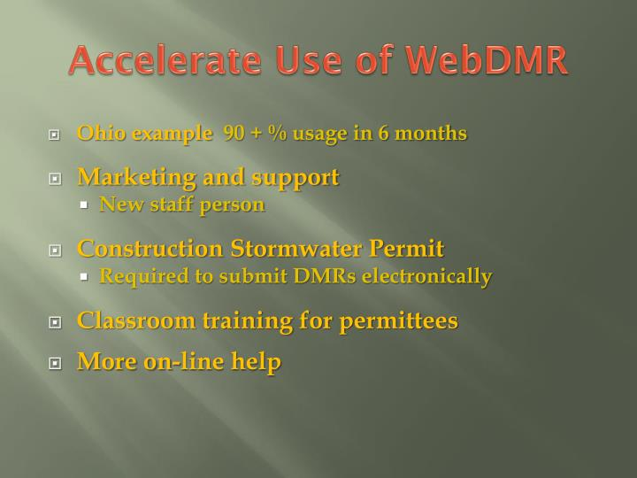 Accelerate Use of WebDMR