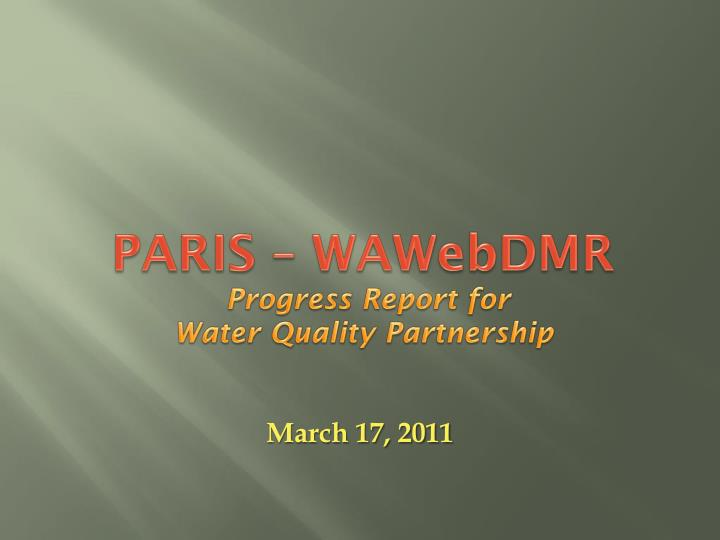 Paris wawebdmr progress report for water quality partnership