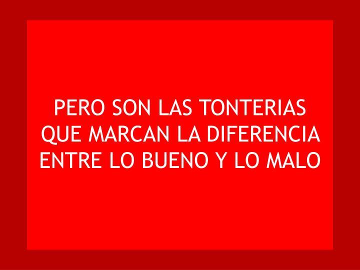 PERO SON LAS TONTERIAS QUE MARCAN LA DIFERENCIA ENTRE LO BUENO Y LO MALO