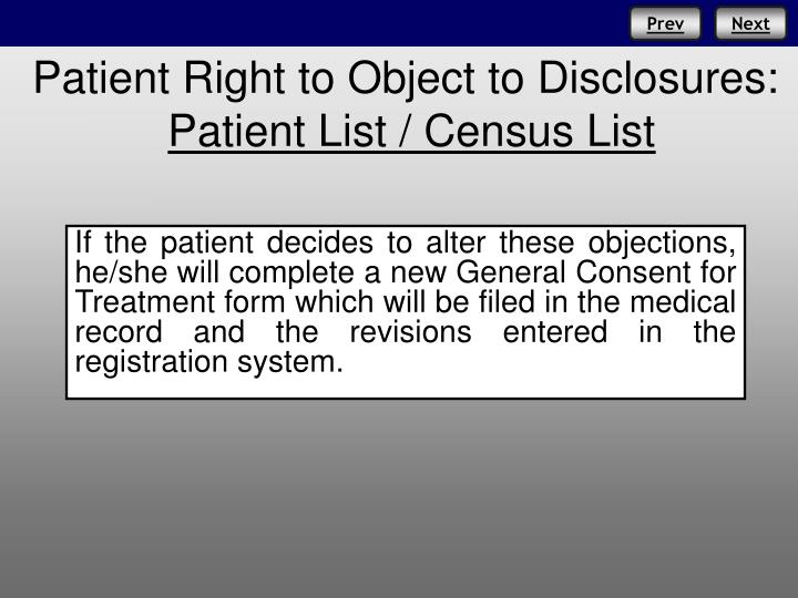 Patient Right to Object to Disclosures: