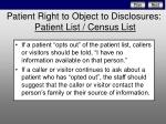 patient right to object to disclosures pa tient list census list5