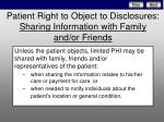patient right to object to disclosures sharing information with family and or friends