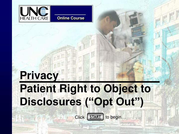 Privacy patient right to object to disclosures opt out