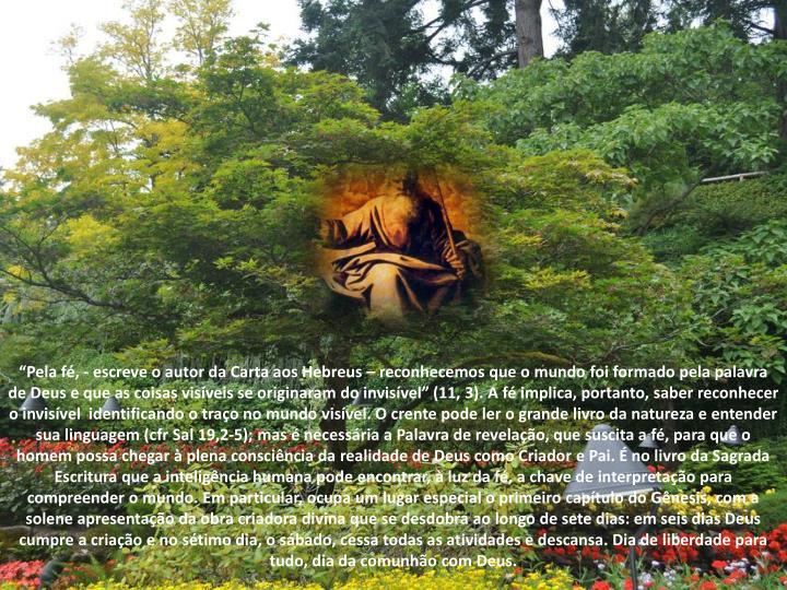 """""""Pela fé, - escreve o autor da Carta aos Hebreus – reconhecemos que o mundo foi formado pela palavra de Deus e que as coisas visíveis se originaram do invisível"""" (11, 3). A fé implica, portanto, saber reconhecer o invisível  identificando o traço no mundo visível. O crente pode ler o grande livro da natureza e entender sua linguagem ("""