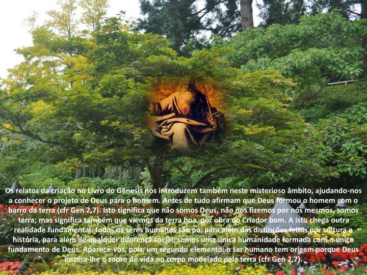 Os relatos da criação no Livro do Gênesis nos introduzem também neste misterioso âmbito, ajudando-nos a conhecer o projeto de Deus para o homem. Antes de tudo afirmam que Deus formou o homem com o barro da terra (