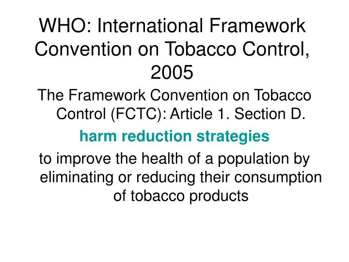 Who international framework convention on tobacco control 2005