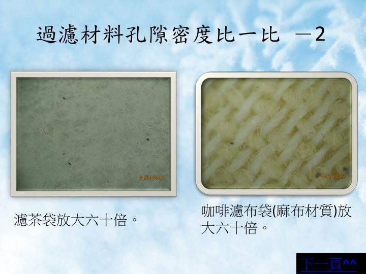 過濾材料孔隙密度比一比 -