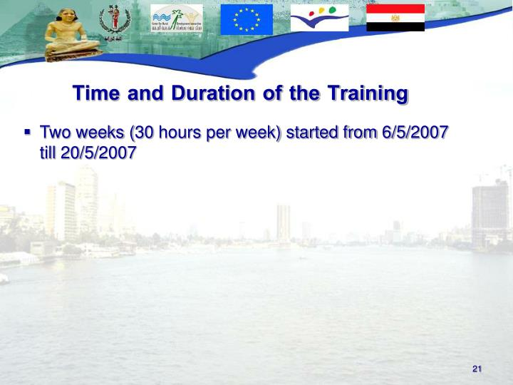Time and Duration of the Training
