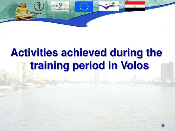 Activities achieved during the training period in Volos