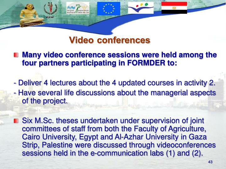Many video conference sessions were held among the four partners participating in FORMDER to: