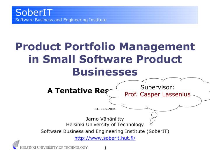 Product Portfolio Management in Small Software Product Businesses