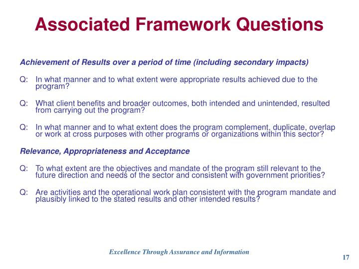 Associated Framework Questions